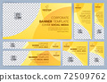 Set of Yellow and Black Web banners templates, Standard sizes with space. Vector illustration 72509762