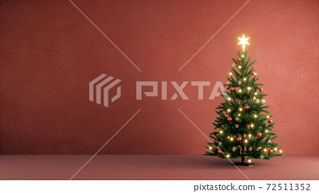 christmas tree in the red room for christmas and new year celebrate 72511352