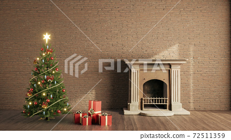 christmas tree and fireplace in a room. living roon interior design xmas concept. 3d rendering 72511359