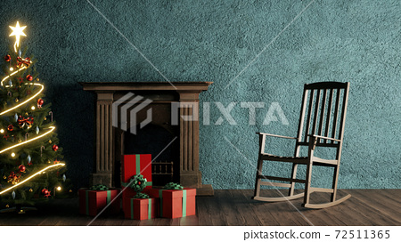 christmas living room interior design. 3d rendering	 72511365