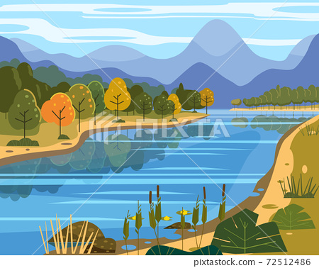 Landscape river flowing to mountains, hills. Coast autumn scenic forest, meadows. Vector illustration background poster banner trendy flat cartoon style 72512486