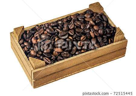 Roasted Coffee Beans in a Small Wooden Crate 72515445