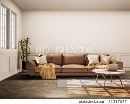 Vintage style living room with beige color wall 3d render. The Rooms have wooden floors, light brown walls and window. Furnished with brown sofa. 72517077