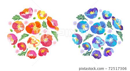 회화 풍의 봄 꽃 의한 부케 소재 72517306