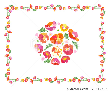 회화 풍의 봄 꽃 의한 프레임과 부케 소재 72517307