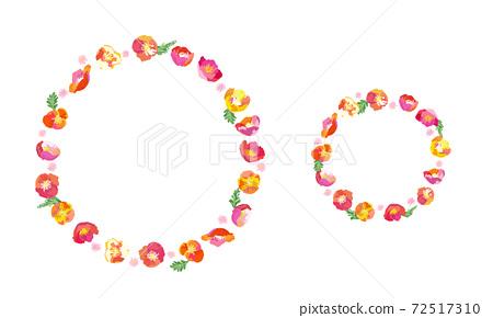 회화 풍의 봄 꽃 의한 원형 프레임 소재 72517310
