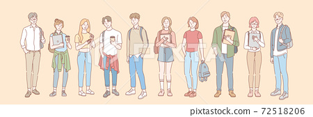 Set of college student, pupil concept 72518206