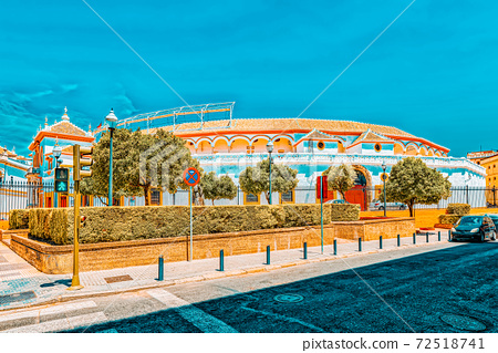 Outdoor view of Arena on of Square of bulls Royal Maestranza of 72518741