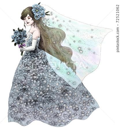 Bride in blue dress 72521062