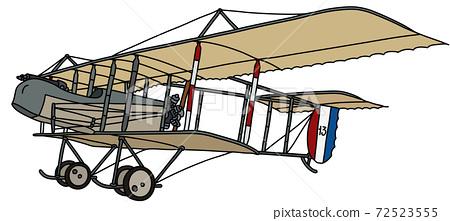 The vintage military biplane 72523555
