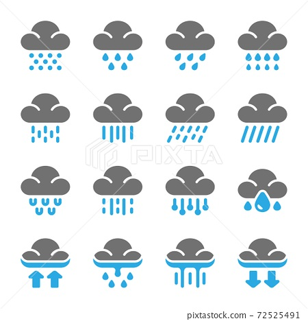 rainy icon set 72525491