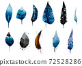 Illustration, set of colorful feathers, watercolor 72528286