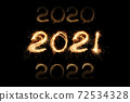 New Year 2021 light of sparks. Sparklers draw figures 2021. Bengal lights and letter. List of year figures 72534328