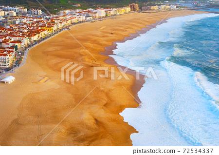 Aerial view Nazare beach Portugal 72534337