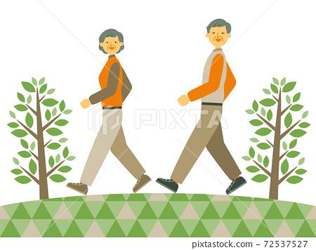一對夫婦帶著微笑散步的插圖 72537527