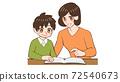 Mom teaching, reading books with children 72540673