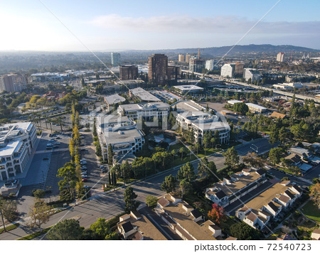 Aerial view of UTC, University City large residential and commercial, San Diego 72540723
