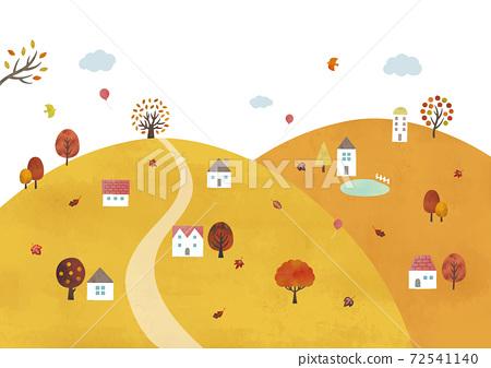 산 가을 마을의 풍경 수채화 72541140