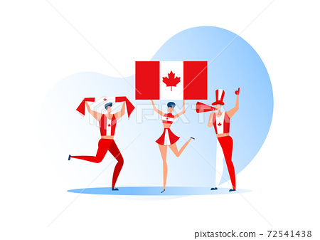 Sport fans,Canada people celebrating a football team. Active team support Soccer symbol and victory celebration. 72541438