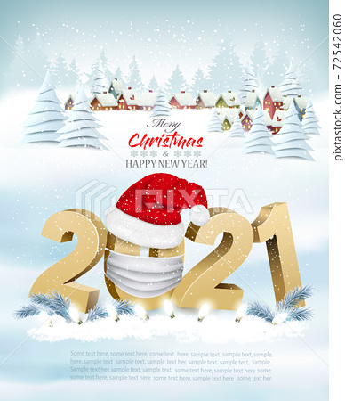 Merry Christmas and New Year holiday background with christmas landscape and 2021 littes and Santa hat. Vector. 72542060