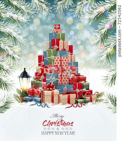 Holiday background with a Christmas tree made out of colorful presents. Vector 72542062