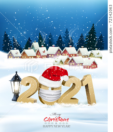 Merry Christmas and New Year Background with 2021 in white protective face mask winter village. Face mask for covid-19 coronavirus. Vector 72542063