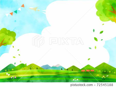 新鮮的綠色郊遊背景圖山和高原水彩紋理 72545188