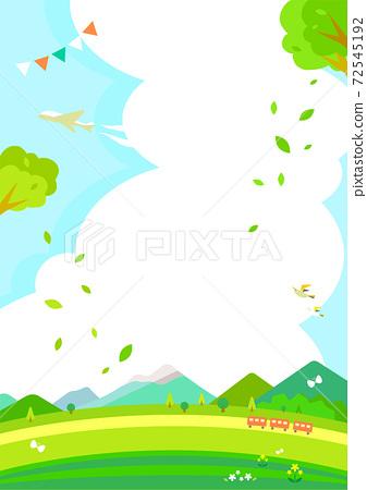 新鮮的綠色郊遊背景圖山脈和高原 72545192