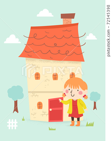 Kid Girl My House Door Illustration 72545398