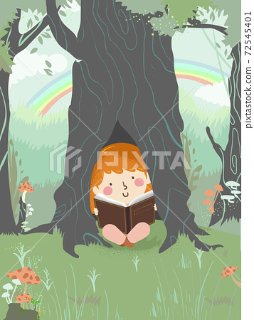 Kid Girl Read Inside Tree Trunk Illustration 72545401