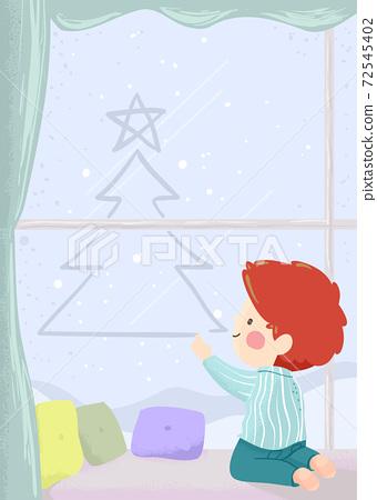 Kid Boy Draw Xmas Tree Window Fog Illustration 72545402