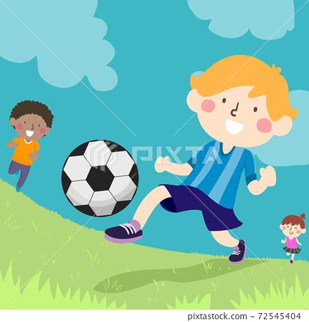 Kids Kicking Ball Outdoors Illustration 72545404