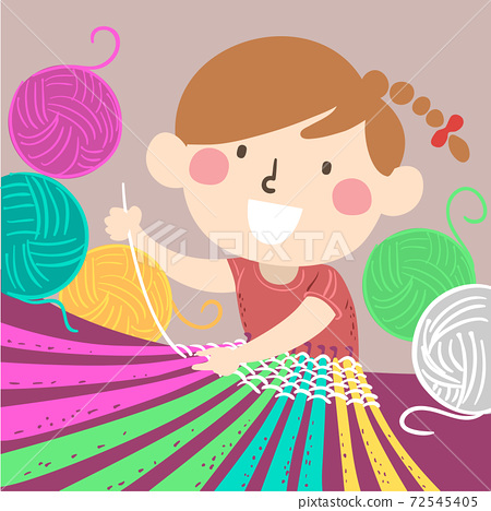 Kid Girl Weaving Yarn Illustration 72545405