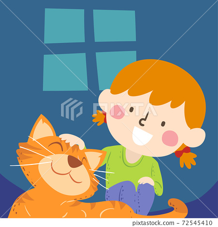 Kid Girl Petting Tabby Cat Pet Illustration 72545410