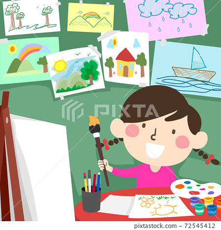 Kid Girl Paint Drawing Room Illustration 72545412
