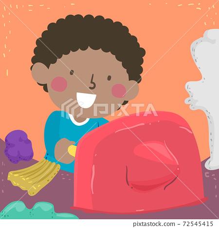 Kid Boy Poking Clay Sensory Illustration 72545415