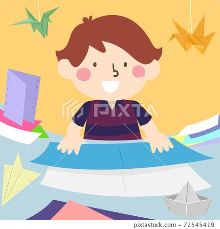 Kid Boy Folding Papers Origami Illustration 72545419
