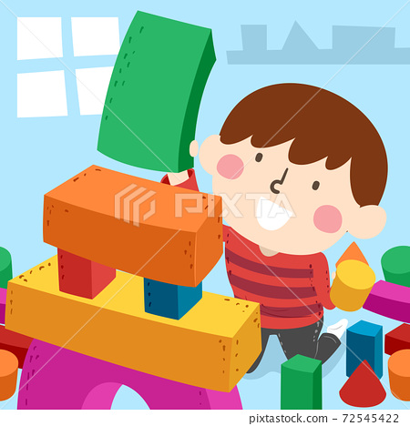 Kid Boy Building Blocks Simple Shapes Illustration 72545422