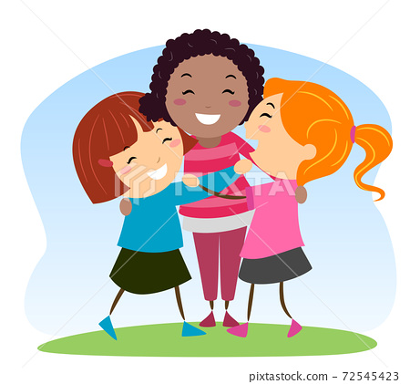 Stickman Kids Girls Social Skills Illustration 72545423