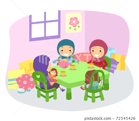 Stickman Kids Girls Muslim Tea Party Illustration 72545426