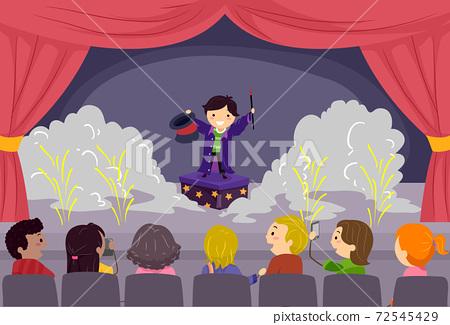 Stickman Kids Stage Magic Performance Illustration 72545429