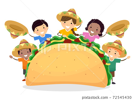 Stickman Kids Taco Day Mexican Hats Illustration 72545430