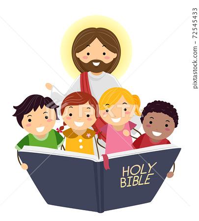 Stickman Kids Read Bible Jesus Illustration 72545433