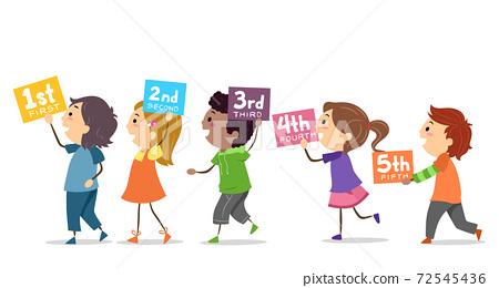Stickman Kids Number Sequence Illustration 72545436
