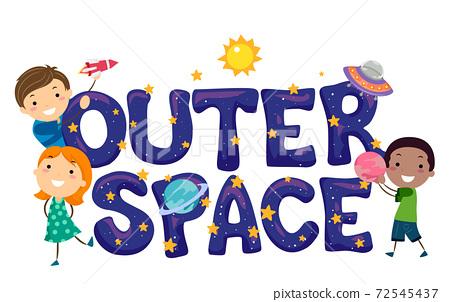 Stickman Kids Outer Space Lettering Illustration 72545437