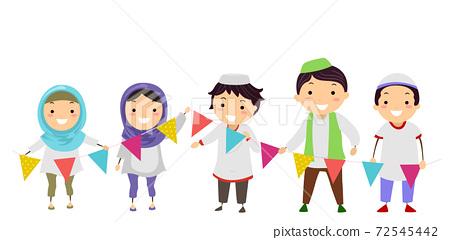 Stickman Kids Muslim Hold Buntings Illustration 72545442