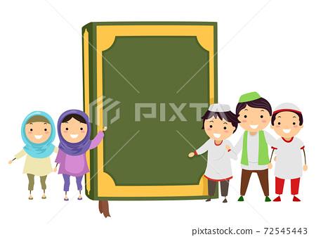 Stickman Kids Muslim Quran Book Illustration 72545443