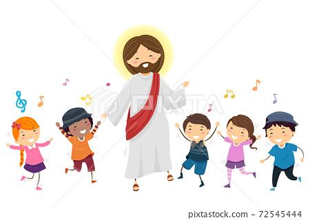 Stickman Kids Jesus Dance Music Illustration 72545444