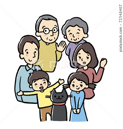 Illustration color of 3 generation family 72548407