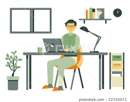 집에서 일하는 디자이너의 남성 72550071